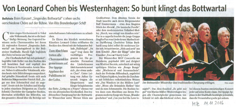 Konzertkritik: Singendes Bottwartal